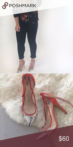 BCBG Coral Heels BCBGeneration Cynthia heels in coral. Silver cap toe, ankle strap and clear panels make these heel perfect for your next night out. Size 9 and true to size. Worn twice with a few minor scuffs hardly noticeable. BCBGeneration Shoes Heels