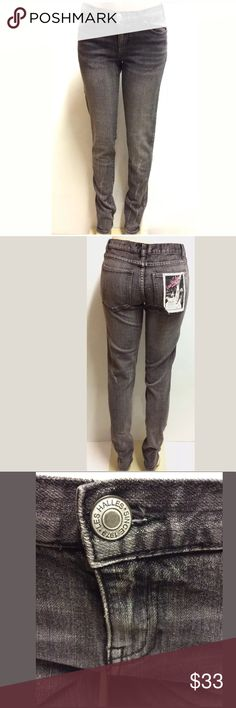 "🔥New Les Halles Jeans Size 29 Black & Gray Skinny Size: 29-0  Color: Black/Dark Gray  Waist: 32""  Inseam: 32.5""  Out Seam: 42.5""  Closures: zip and button  Pockets: 5  Material: 99% Cotton, 1% Spandex  Condition: The Jeans has a black spot on left pants leg (see last photo). The pants are new without price tags but has the original tag attached to the back pocket. Thank you for viewing this listing!   Thank you for viewing this listing! Las Halles Jeans Skinny"
