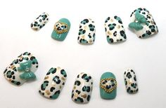 Japanese Nail Art Blue Leopard Print Bows on Etsy, $30.00