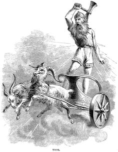 TANNGRISNIR and TANNGNJOSTR - these were the two goats, Teeth-barer and Teeth grinder, that pulled THOR's chariot. The flesh of these goats was said to have provided the gods withsustenanceso THOR would slay and cook them, and thenresurrectthem with MJOINIR the following day.