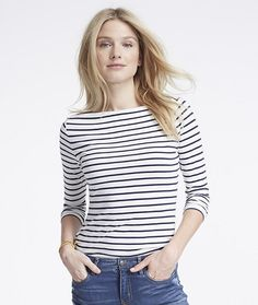 Women's Signature Cotton/Modal Boatneck Top Stripe (4 Colors) Ships Free