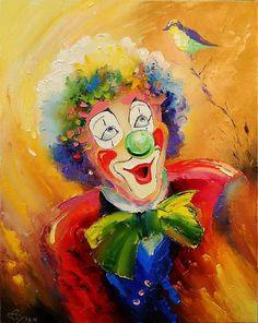 HD Print Portrait Oil Painting Wall Decor Art on Canvas,Clown 12x16inch
