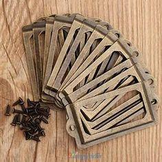 12PCS Retro Antique Brass Metal Label Pull Frame Handle File Name Card Holder US