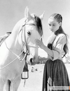 """March 9, 1959: """"Her first day back on the set for 'The Unforgiven' actress Audrey Hepburn pets the horse here that threw her a month ago. Back injuries she received in the fall, though mostly healed, prevent her from working more than three hours a day. The horse, named 'Gui-Pago' is an Arabian stallion."""" (original image caption, https://picasaweb.google.com/lh/photo/FQHqyUUodwAGuxiuu0pfqQ)"""