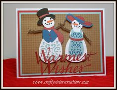 Snowman card using A Quilted Christmas cricut cartridge. DT project for Bitten by the Bug 2 www.craftysisterscreations.com