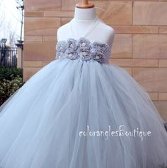 Grey Flower Girl Tutu Dress baby dress by coloranglesBoutique