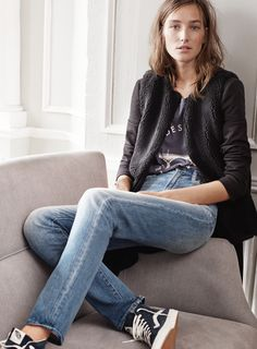 madewell faux-shearling vest worn with venice blazer coat, the le pont des arts tee, the perfect fall jean + vans® sk8-hi slim zip high-top sneakers in navy suede. #denimmadewell