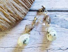 $23.20 Black and White Earrings Outlander Inspired Gemstone Drop Earrings by BlueWorldTreasures