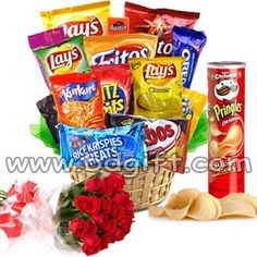 Send Chips Basket With 1 Dozen Red Roses In Bouquet To Bangladesh