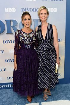 """""""Sex in the City"""" moment! Sarah Jessica Parker and Cynthia Nixon hit the NYC premiere of """"Divorce."""""""