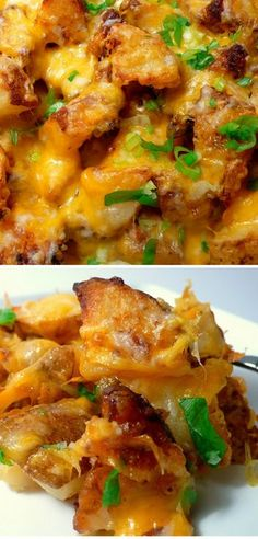 Roasted Ranch Potatoes with Bacon and Cheese - A new twist on the traditional potato casserole.