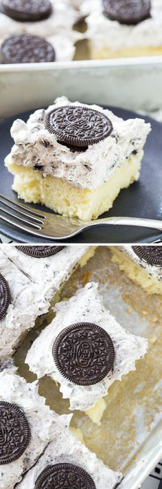 Sheet Cake with the BEST Cookies and Cream Whipped Icing Recipe | Willow Bird Baking