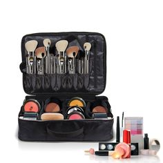 """Premium Large Cosmetic - Makeup Bag by Chillax 16.14""""- Best Train Case Organizer for Artist Women - Portable Travel Friendly Professional Make up Case for all Cosmetics"""