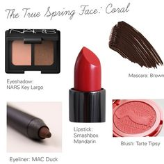 A collage featuring a coral #TrueSpring face. The look is always fresh, warm, and beachy, never dark, cool, or dusty.