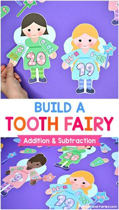 Get ready for a magical math practice! Your kids will be building tooth fairies while counting and working on addition & subtraction to 20 problems! This printable activity features lots of fun tooth fairy-themed images, to make sure your kids stay interested and also have a lot of fun learning.  There are lots of stars, baby teeth and wands for a magical practice! #toothfairy #mathcentersforkids #printablesforkids #addition #subtraction