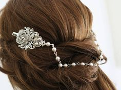 Wedding headpiece pearl crystal head chain #hair #accessories #bride This beautiful head piece feature Swarovski white / ivory pearls, crystal accented leaf and rose brooches are hand set on silver filigree stampings The style of this gorgeous wedding headpiece is that can be worn from day to night, and occasions beyond the wedding day.