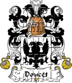 Doucet Family Crest apparel, Doucet Coat of Arms gifts