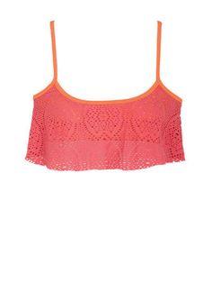 coral crochet bikini top- DELIAS