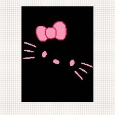 Hello Kitty Fun Face Black and Pink Crochet Afghan Pattern Graph ...