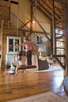 This is a great space! Love the swing, the exposed wood, and the openness!