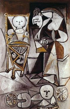 "Pablo Picasso - ""Woman draws surrounded her children (Françoise drawing with her children)"". 1950"