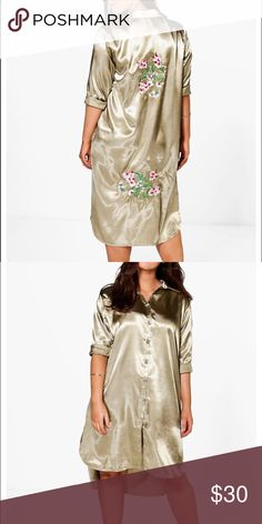 Satin longline shirt Satin shirt dress with 2 floral appliqués on the back. Never worn. NWOT. Boohoo Plus Dresses High Low