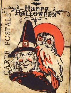 Vintage Halloween Witch Tags