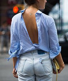 blouse & necklace backwards / backless / low-backed
