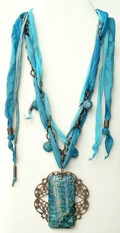 All components to make Aqua Fairy Necklace - Click Image to Close