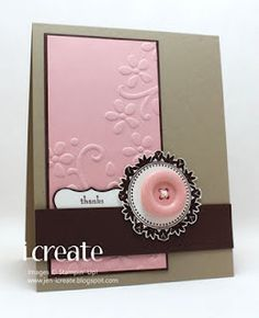 Pink, tan and black with large button embellishment by I Create
