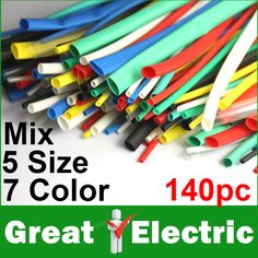 140PCS Heat Shrink Tubing Tube Sleeving Wrap Wire Cable Kit Free Shipping #CGKCH153