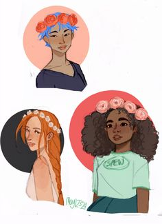 Tonks, Ginny and Hermione again, wearing flower crowns