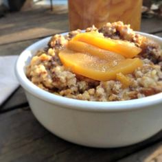 Peach Pie Crock Pot Oatmeal | Real Food Outlaws