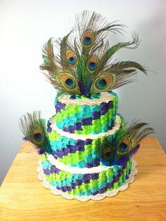 Kalli's Peacock Birthday Cake!  Pretty as a Peacock Party!