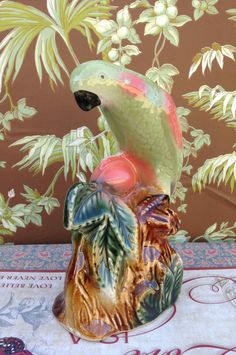 SOLD!!! Tall Vintage Parrot Figurine 50s-60s by CoffeeCreekVintage on Etsy