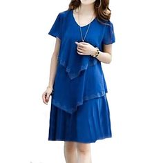 Women's Plus Size Solid Cultivating Chiffon Dress,V Neck Short Sleeve – USD $ 16.99