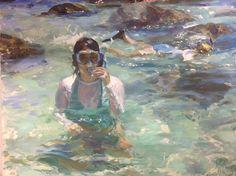 Paul Oxborough, Snorkeling 2014, oil on linen