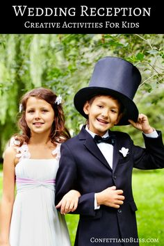 Clever Wedding Reception Ideas | Creative Activities for Kids.  When children are kept well entertained at your wedding reception, guests will be thankful and you'll be able to enjoy your magical evening to the fullest! PIN NOW, READ LATER...