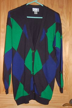 Vintage 80s Pappagallo Long Graphic Oversize Argyle Beaded Colorblock Sweater by MaidenhairVintage on Etsy, $34.00