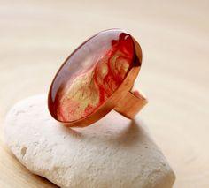 Copper Adjustable Ring HandPainted Ring Bezel Ring by EverywhereUR, $44.00 #ring #adjustable #handpainted #summer #spring #trends #bigring
