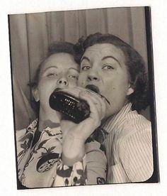 Vintage photo booth gals drankin' liquor