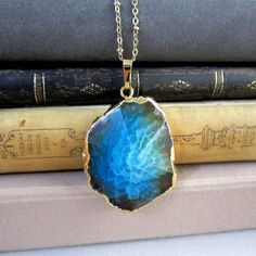 Blue Ombre Necklace Aqua Sea Green Geode Teal Turquoise Gem Stone Agate Pendant Layered Long Necklace Natural Rustic Statement Large Chunky Modern Jewelry Simple Casual Minimalist - Jewelsalem