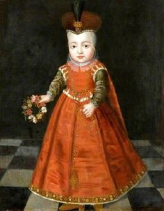 1620s Unknown artist Portrait of a Young Boy holding a Garland of flowers