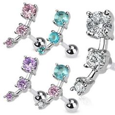 Tragus/Cartilage Piercing Stud Earring 3 Stone CZ
