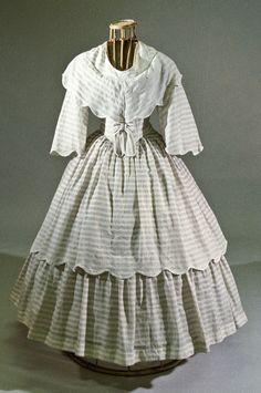 In the Swan's Shadow: Cotton summer dress, ca. 1855  Civil War Era Dress