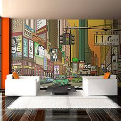"""Large, durable, water- and scratch-resistant XXL fleece wall mural """"Vibrant city - NY"""". Wall mural """"Vibrant city - NY"""" in large format with inspiring design is a sensational decoration for any room. Embossed Wallpaper, Wallpaper Panels, Wall Wallpaper, New York, Xxl Poster, Home 21, Tile Panels, Paint Stripes, Piece A Vivre"""