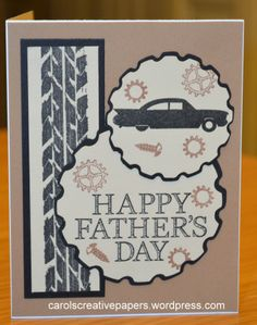 Father's Day Card - Car Theme carolscreativepapers.wordpress.com, OWH Dude & Tim Holtz Road Trip