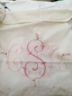 Tate's Duvet embroidered with large centered flower monogram TLW