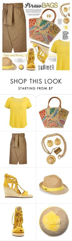 """""""Carry On: Straw Bags"""" by katjuncica ❤ liked on Polyvore featuring Black Diamond, Tory Burch, Each X Other, Chanel, Vince Camuto, Steve Madden, IaM by Ileana Makri and strawbags"""