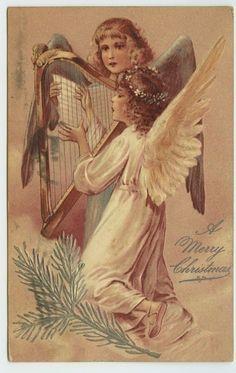 Christmas~Angels Playing Harp & Singing~Embossed PFB Postcard